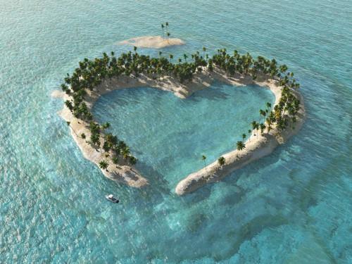 Palm Island in shape of heart